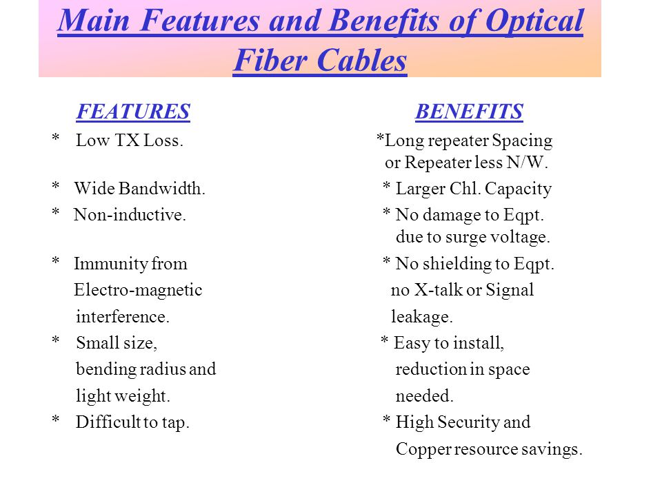 FEATURES BENEFITS *Low TX Loss. *Long repeater Spacing or Repeater less N/W.