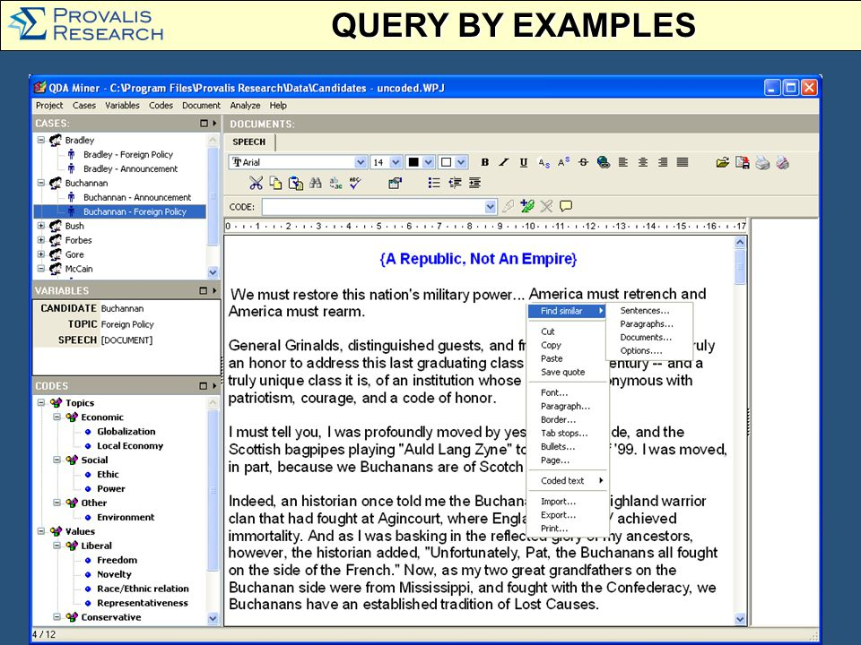 QUERY BY EXAMPLES