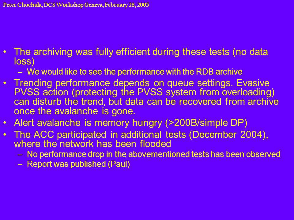 Peter Chochula, DCS Workshop Geneva, February 28, 2005 DCS Test Setup Test setup installed in DCS lab –Prototypes of DCS core computers –Worker nodes (rental) Domain Controller Terminal Server Router Database Server CERN Worker Node