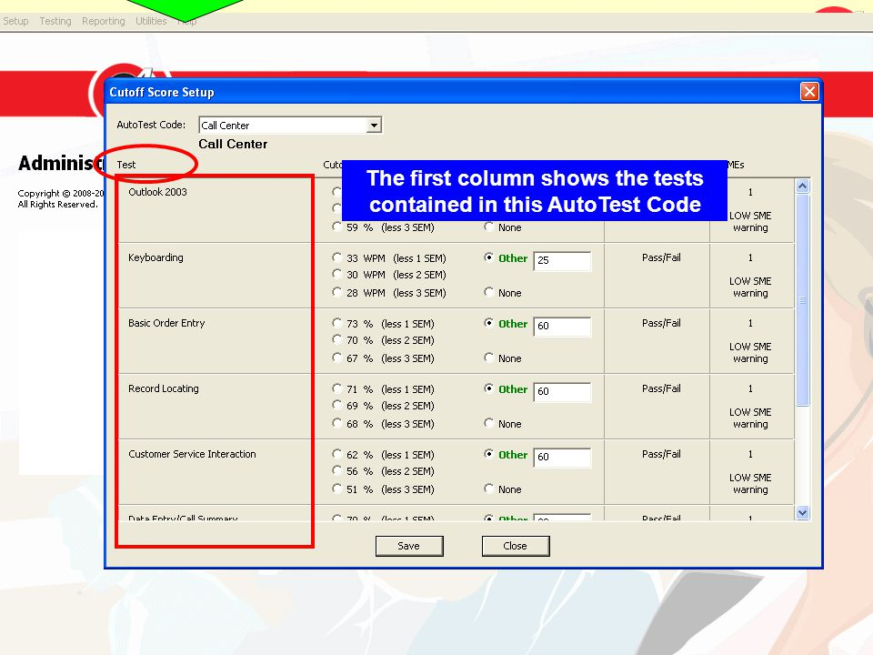 The first column shows the tests contained in this AutoTest Code