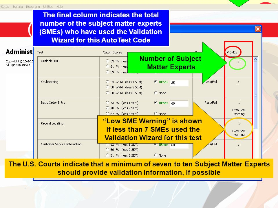 Low SME Warning is shown if less than 7 SMEs used the Validation Wizard for this test The final column indicates the total number of the subject matte