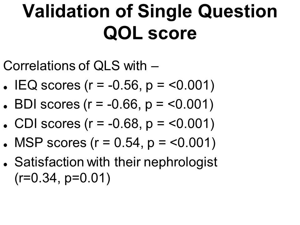 Validation of Single Question QOL score Correlations of QLS with – l IEQ scores (r = -0.56, p = <0.001) l BDI scores (r = -0.66, p = <0.001) l CDI sco