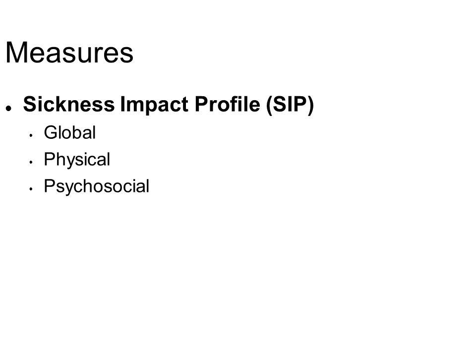 Measures l Sickness Impact Profile (SIP) Global Physical Psychosocial