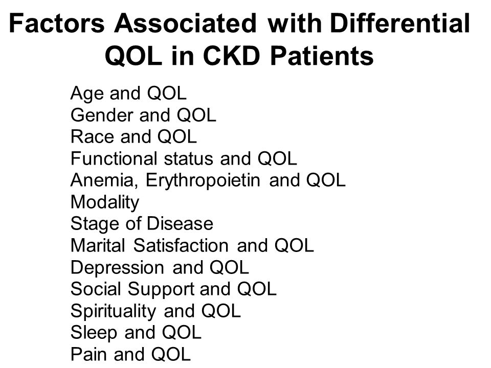 Factors Associated with Differential QOL in CKD Patients Age and QOL Gender and QOL Race and QOL Functional status and QOL Anemia, Erythropoietin and