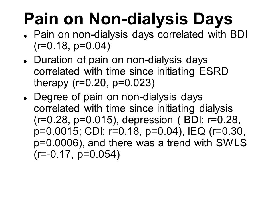 Pain on Non-dialysis Days l Pain on non-dialysis days correlated with BDI (r=0.18, p=0.04) l Duration of pain on non-dialysis days correlated with tim