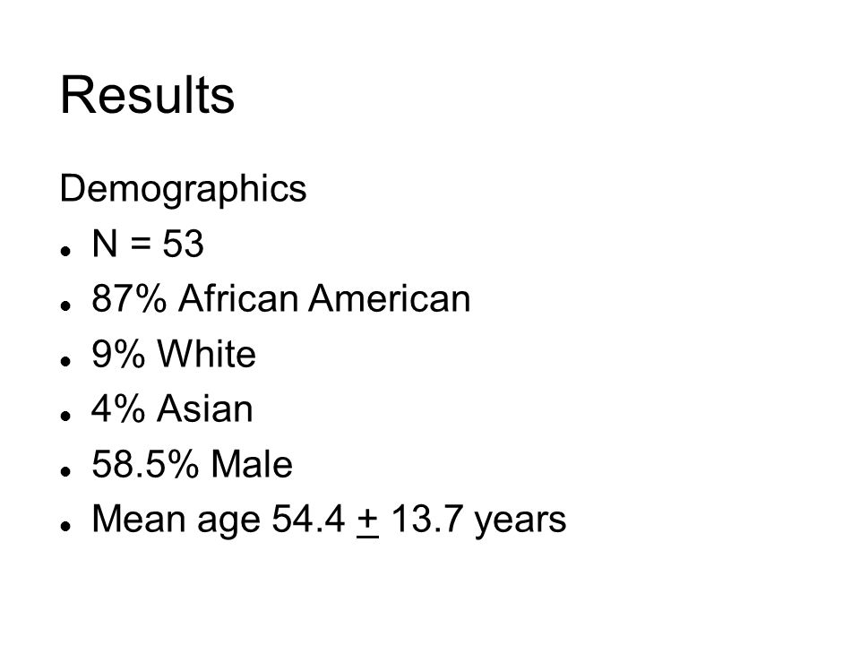 Results Demographics l N = 53 l 87% African American l 9% White l 4% Asian l 58.5% Male l Mean age 54.4 + 13.7 years
