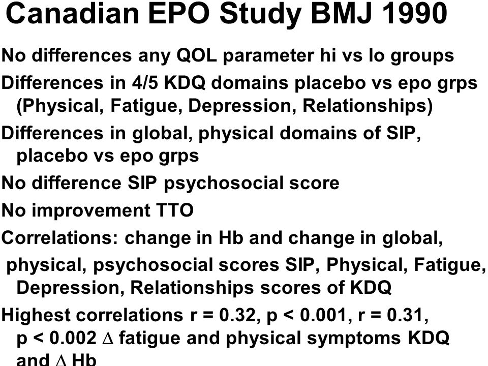 Canadian EPO Study BMJ 1990 No differences any QOL parameter hi vs lo groups Differences in 4/5 KDQ domains placebo vs epo grps (Physical, Fatigue, De