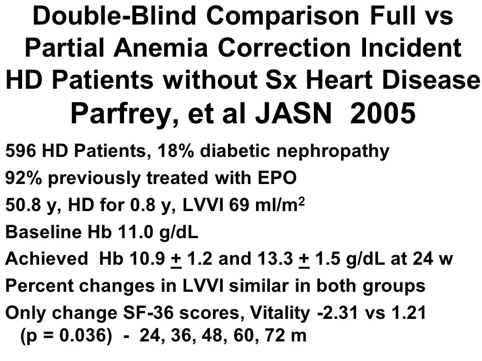 Double-Blind Comparison Full vs Partial Anemia Correction Incident HD Patients without Sx Heart Disease Parfrey, et al JASN 2005 596 HD Patients, 18%
