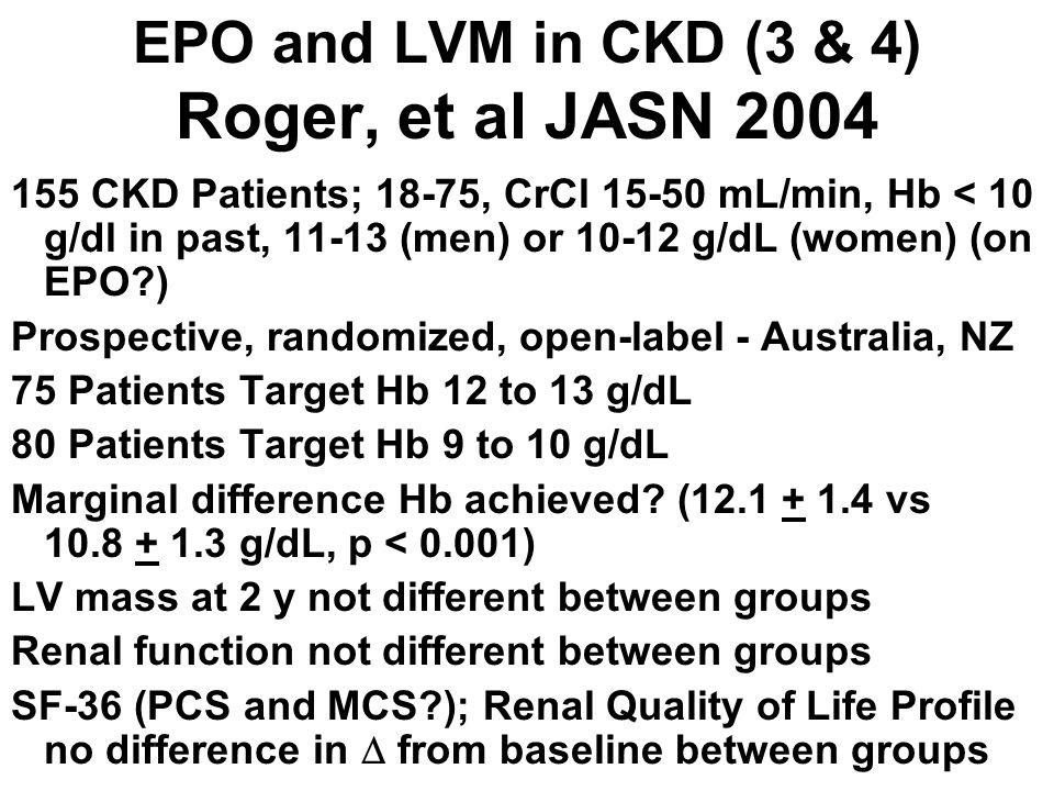 EPO and LVM in CKD (3 & 4) Roger, et al JASN 2004 155 CKD Patients; 18-75, CrCl 15-50 mL/min, Hb < 10 g/dl in past, 11-13 (men) or 10-12 g/dL (women)