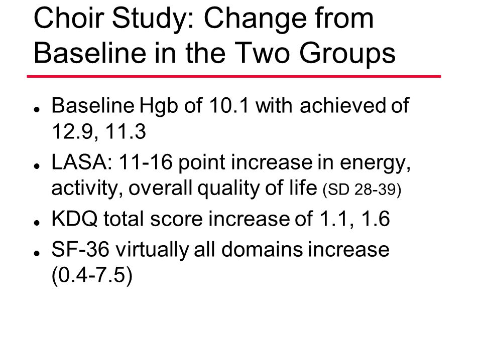 Choir Study: Change from Baseline in the Two Groups l Baseline Hgb of 10.1 with achieved of 12.9, 11.3 l LASA: 11-16 point increase in energy, activit