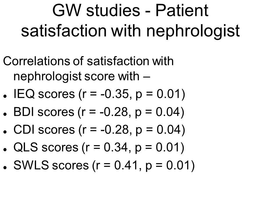 GW studies - Patient satisfaction with nephrologist Correlations of satisfaction with nephrologist score with – l IEQ scores (r = -0.35, p = 0.01) l B