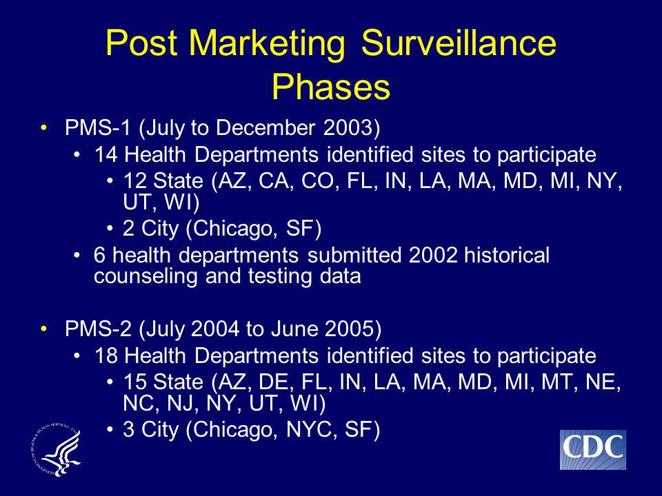 Post Marketing Surveillance Phases PMS-1 (July to December 2003) 14 Health Departments identified sites to participate 12 State (AZ, CA, CO, FL, IN, LA, MA, MD, MI, NY, UT, WI) 2 City (Chicago, SF) 6 health departments submitted 2002 historical counseling and testing data PMS-2 (July 2004 to June 2005) 18 Health Departments identified sites to participate 15 State (AZ, DE, FL, IN, LA, MA, MD, MI, MT, NE, NC, NJ, NY, UT, WI) 3 City (Chicago, NYC, SF)