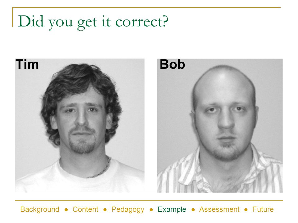 Did you get it correct? TimBob Background Content Pedagogy Example Assessment Future