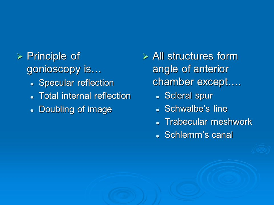 Principle of gonioscopy is… Principle of gonioscopy is… Specular reflection Specular reflection Total internal reflection Total internal reflection Do