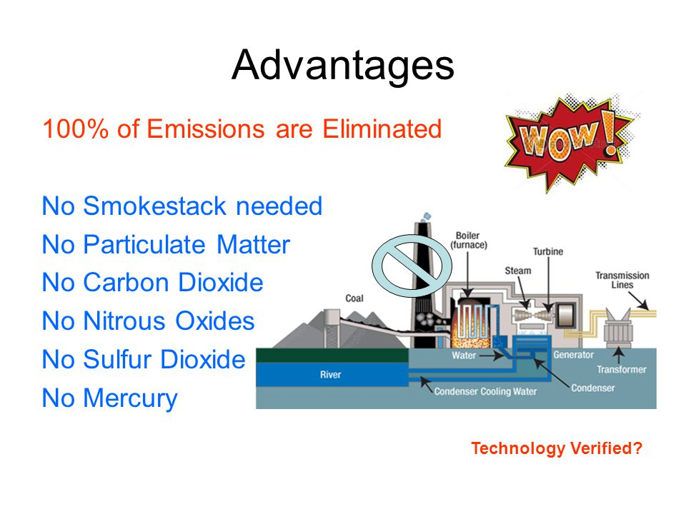Advantages 100% of Emissions are Eliminated No Smokestack needed No Particulate Matter No Carbon Dioxide No Nitrous Oxides No Sulfur Dioxide No Mercury Technology Verified?