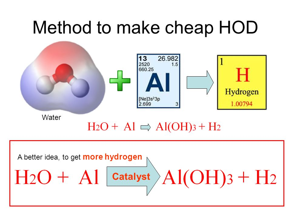Method to make cheap HOD Catalyst Water A better idea, to get more hydrogen