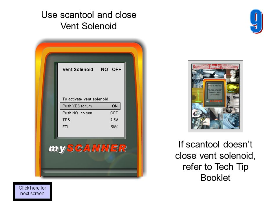 Use scantool and close Vent Solenoid Click here for next screen If scantool doesnt close vent solenoid, refer to Tech Tip Booklet Vent Solenoid NO - OFF To activate vent solenoid Push YES to turn ON Push NO to turn OFF TPS 2.5V FTL 58%