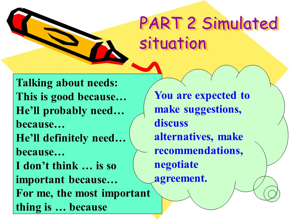 PART 2 Simulated situation Talking about needs: This is good because… Hell probably need… because… Hell definitely need… because… I dont think … is so