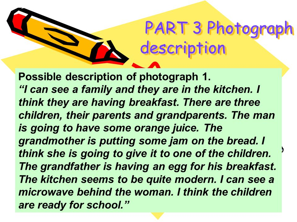 Possible description of photograph 1. I can see a family and they are in the kitchen. I think they are having breakfast. There are three children, the