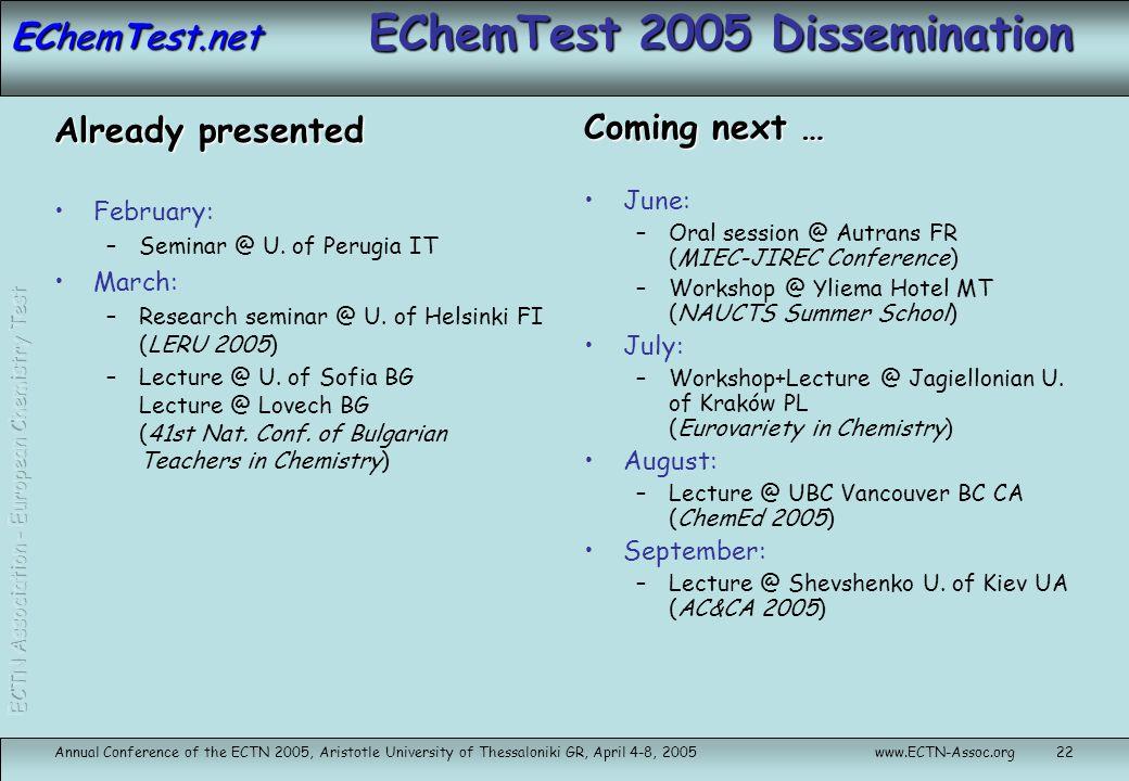 EChemTest.net Annual Conference of the ECTN 2005, Aristotle University of Thessaloniki GR, April 4-8, 2005www.ECTN-Assoc.org22 EChemTest 2005 Dissemin