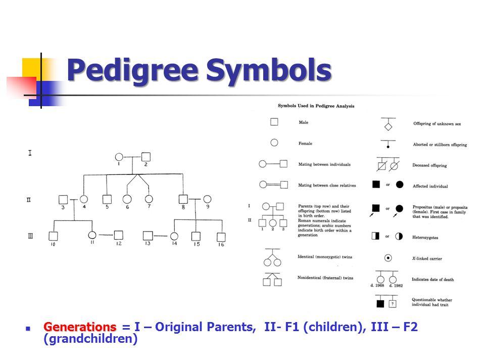 Pedigree Symbols Generations Generations = I – Original Parents, II- F1 (children), III – F2 (grandchildren)