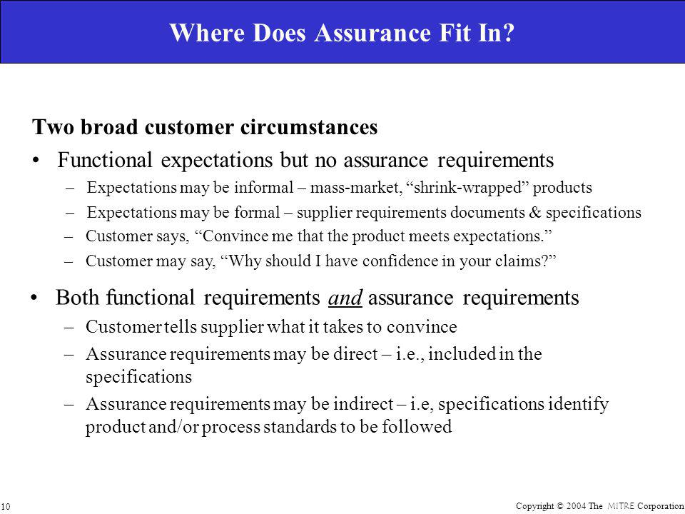 Copyright © 2004 The MITRE Corporation 10 Where Does Assurance Fit In.