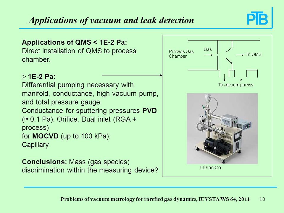 Problems of vacuum metrology for rarefied gas dynamics, IUVSTA WS 64, Applications of QMS < 1E-2 Pa: Direct installation of QMS to process chamber.