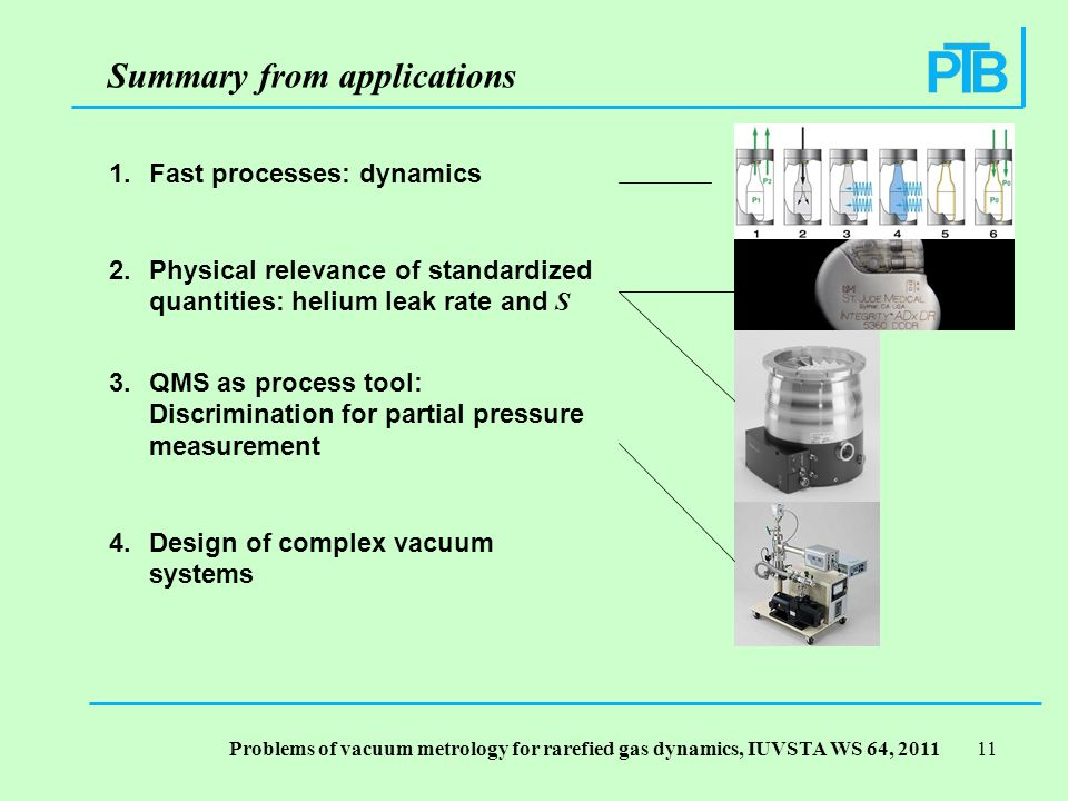 Problems of vacuum metrology for rarefied gas dynamics, IUVSTA WS 64, Fast processes: dynamics 2.Physical relevance of standardized quantities: helium leak rate and S 3.QMS as process tool: Discrimination for partial pressure measurement 4.Design of complex vacuum systems Summary from applications