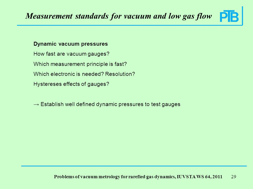 Problems of vacuum metrology for rarefied gas dynamics, IUVSTA WS 64, Dynamic vacuum pressures How fast are vacuum gauges.