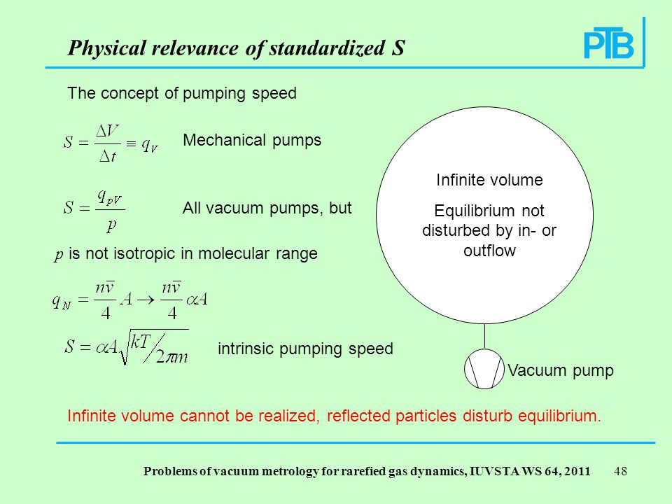 Problems of vacuum metrology for rarefied gas dynamics, IUVSTA WS 64, Physical relevance of standardized S Infinite volume Equilibrium not disturbed by in- or outflow Vacuum pump Mechanical pumps All vacuum pumps, but p is not isotropic in molecular range The concept of pumping speed intrinsic pumping speed Infinite volume cannot be realized, reflected particles disturb equilibrium.