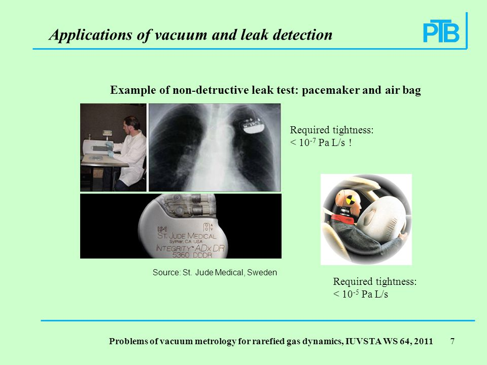 Problems of vacuum metrology for rarefied gas dynamics, IUVSTA WS 64, Example of non-detructive leak test: pacemaker and air bag Required tightness: < Pa L/s .