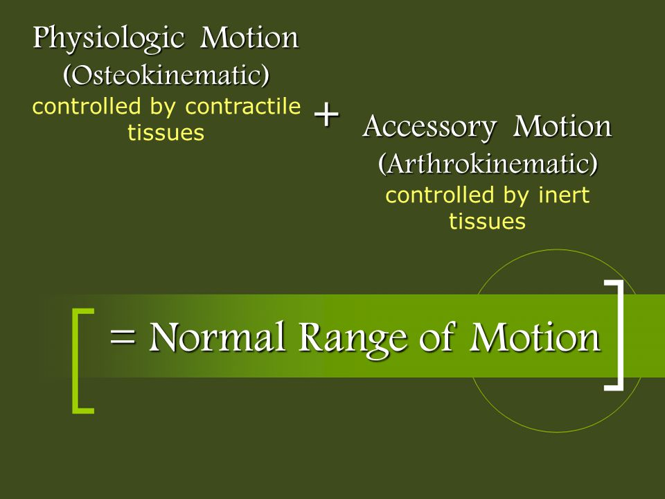 = Normal Range of Motion Physiologic Motion (Osteokinematic) Physiologic Motion (Osteokinematic) controlled by contractile tissues Accessory Motion (A
