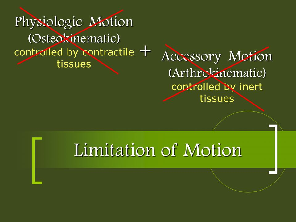 Limitation of Motion Physiologic Motion (Osteokinematic) Physiologic Motion (Osteokinematic) controlled by contractile tissues Accessory Motion (Arthr