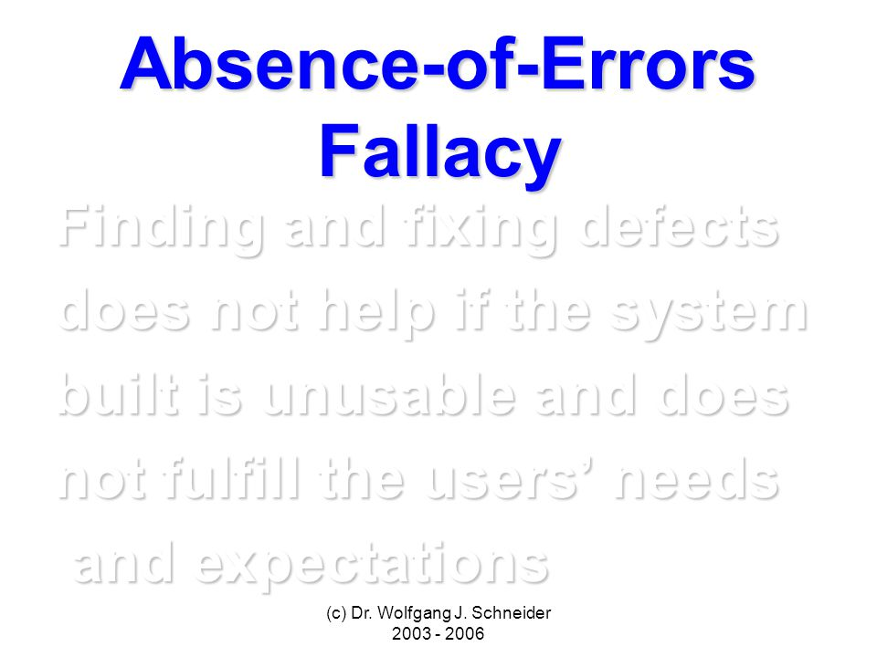 (c) Dr. Wolfgang J. Schneider 2003 - 2006 Absence-of-Errors Fallacy Finding and fixing defects does not help if the system built is unusable and does