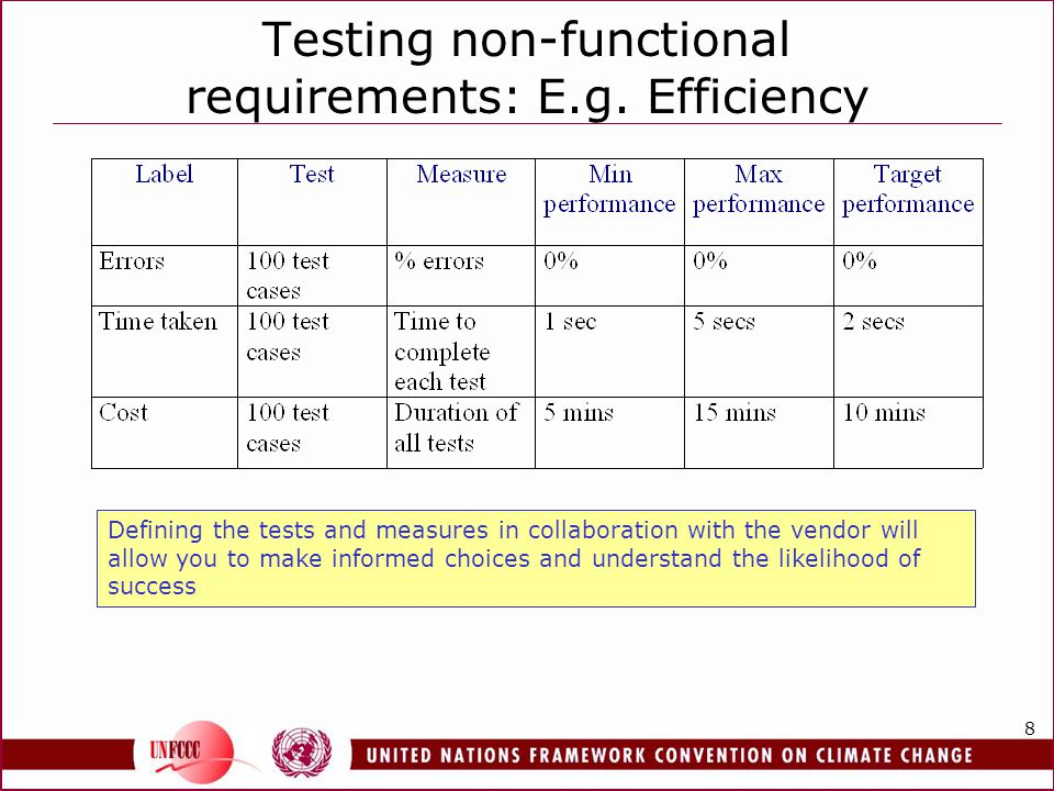 8 Testing non-functional requirements: E.g. Efficiency Defining the tests and measures in collaboration with the vendor will allow you to make informe