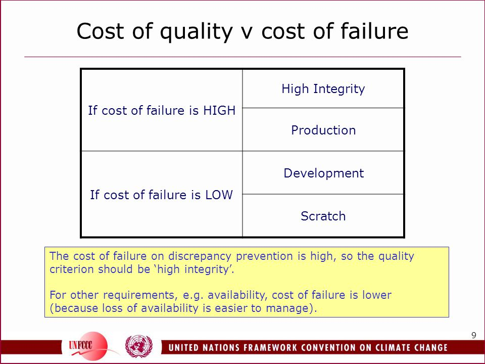 9 Cost of quality v cost of failure If cost of failure is HIGH High Integrity Production If cost of failure is LOW Development Scratch The cost of failure on discrepancy prevention is high, so the quality criterion should be high integrity.