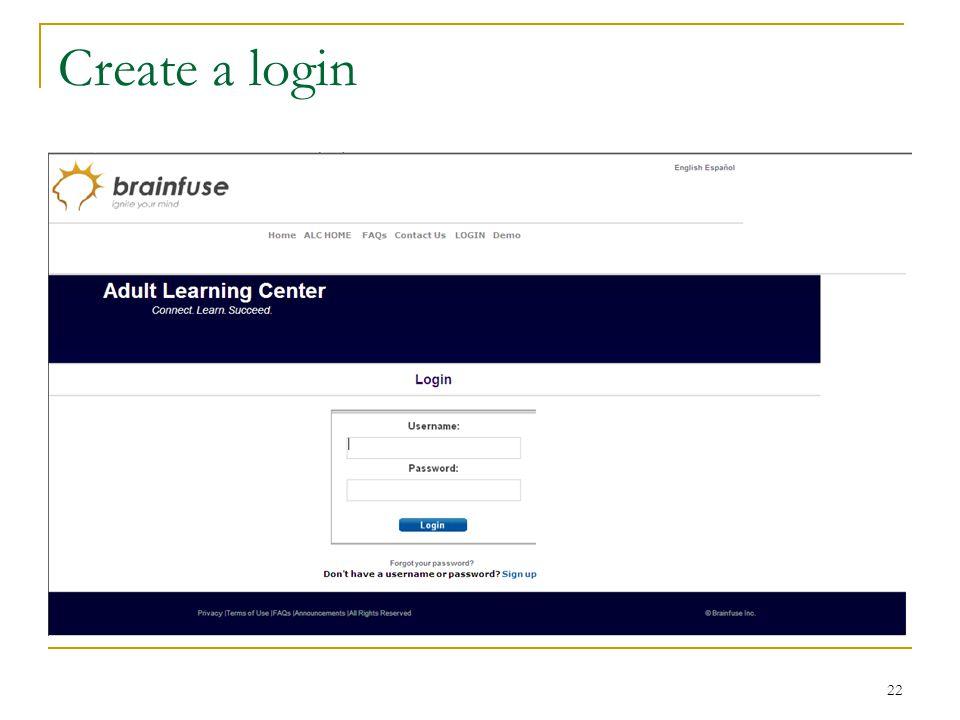 22 Create a login