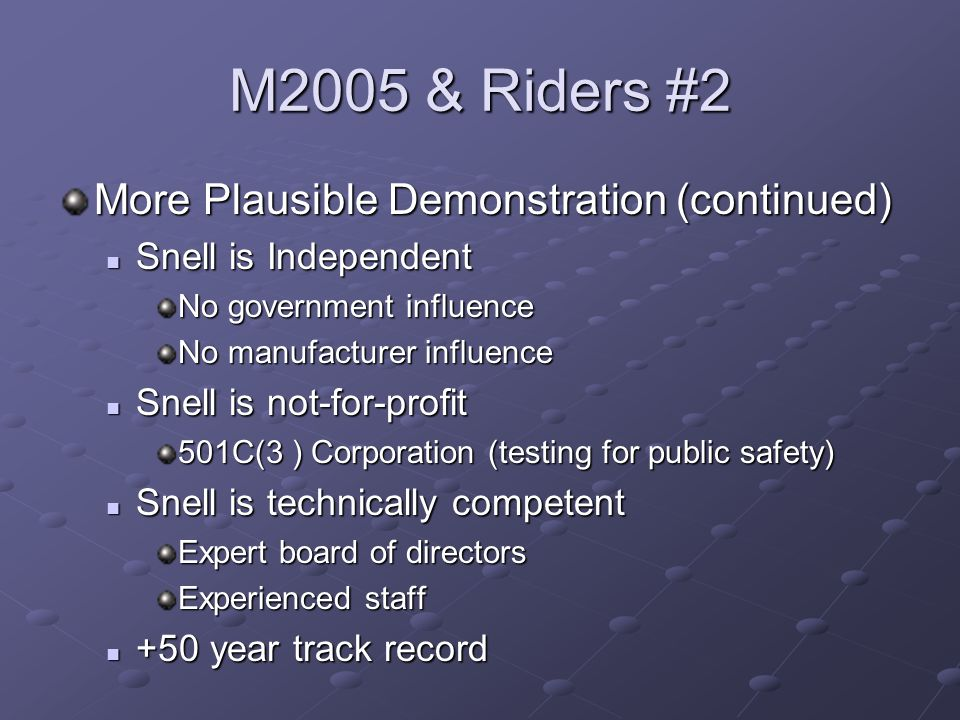 M2005 & Riders #2 More Plausible Demonstration (continued) Snell is Independent Snell is Independent No government influence No manufacturer influence