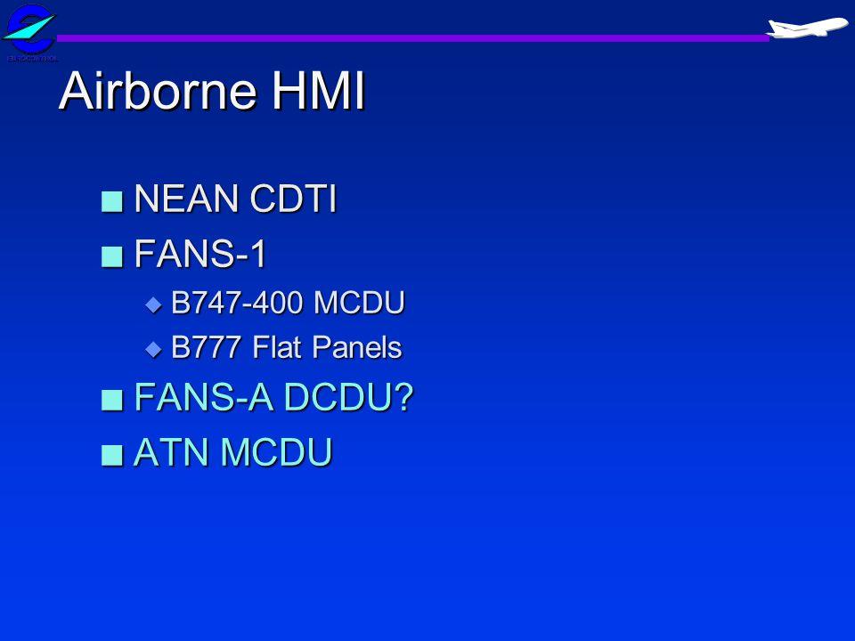 Airborne HMI n NEAN CDTI n FANS-1 u B747-400 MCDU u B777 Flat Panels n FANS-A DCDU? n ATN MCDU