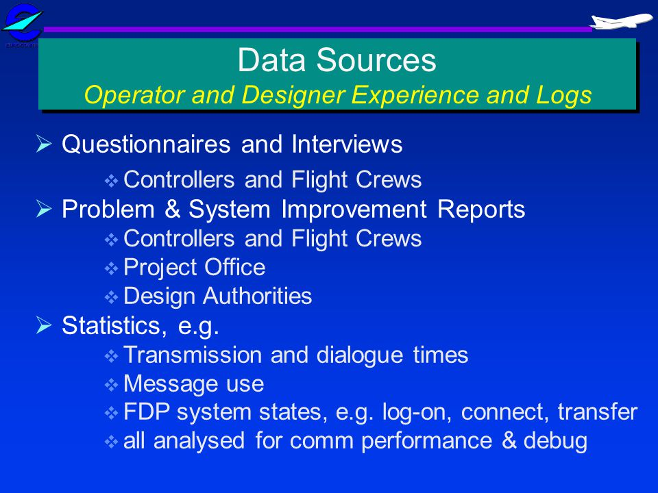 Questionnaires and Interviews Controllers and Flight Crews Problem & System Improvement Reports Controllers and Flight Crews Project Office Design Aut