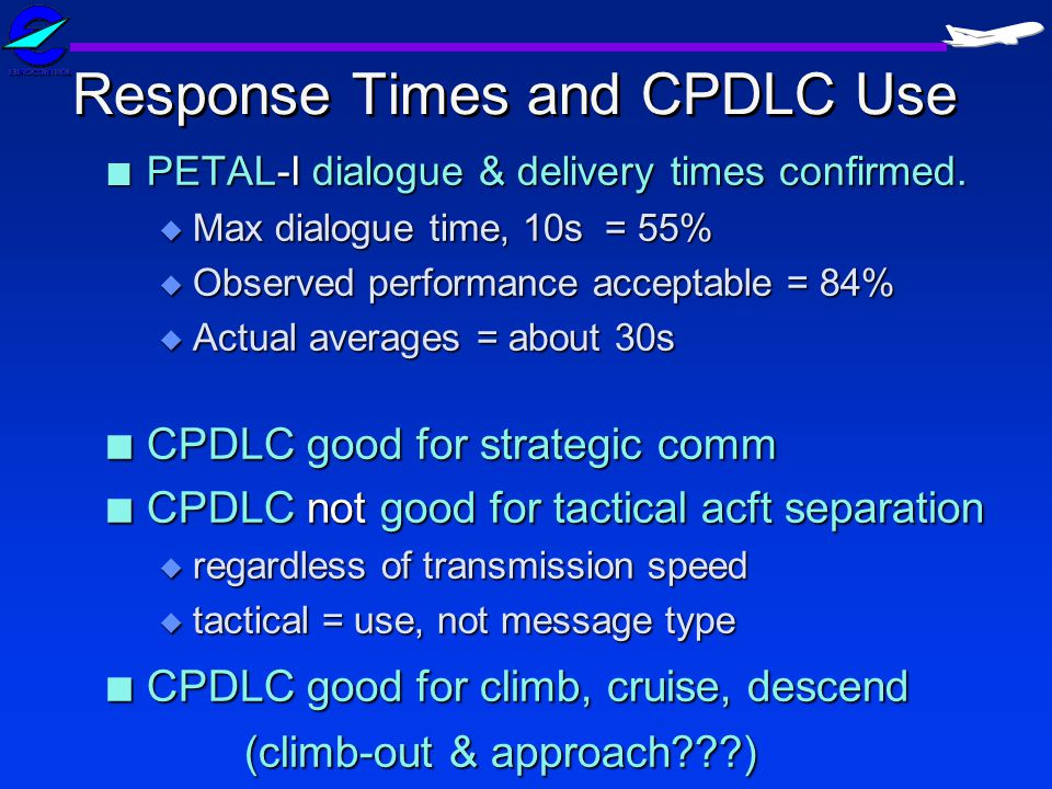 Response Times and CPDLC Use n PETAL-I dialogue & delivery times confirmed.