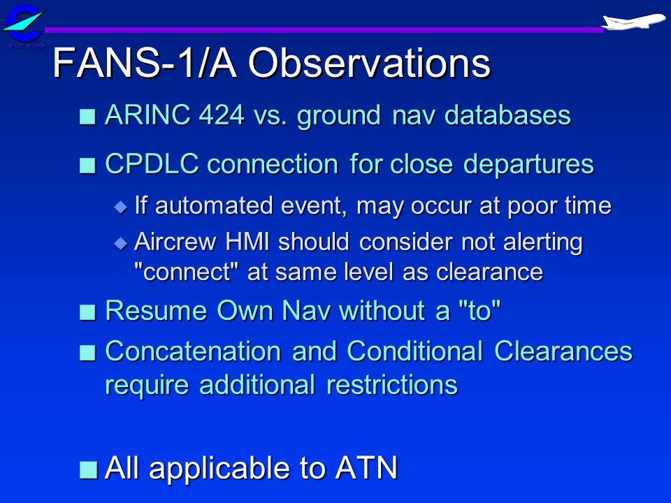 FANS-1/A Observations n ARINC 424 vs.