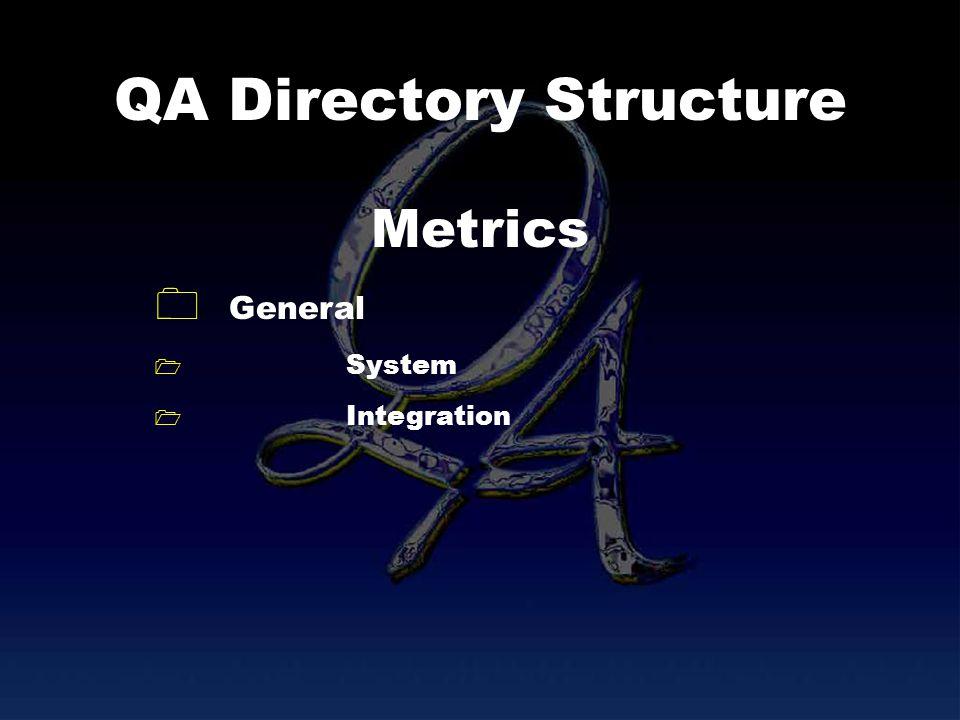 QA Directory Structure General System Integration Metrics
