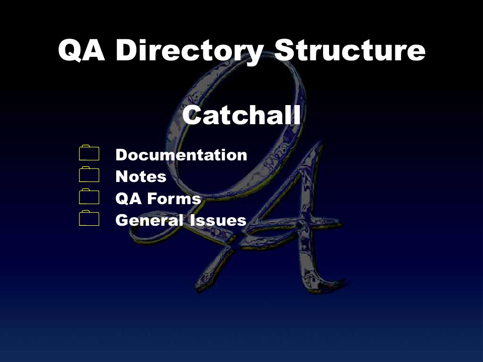 QA Directory Structure Documentation Notes QA Forms General Issues Catchall