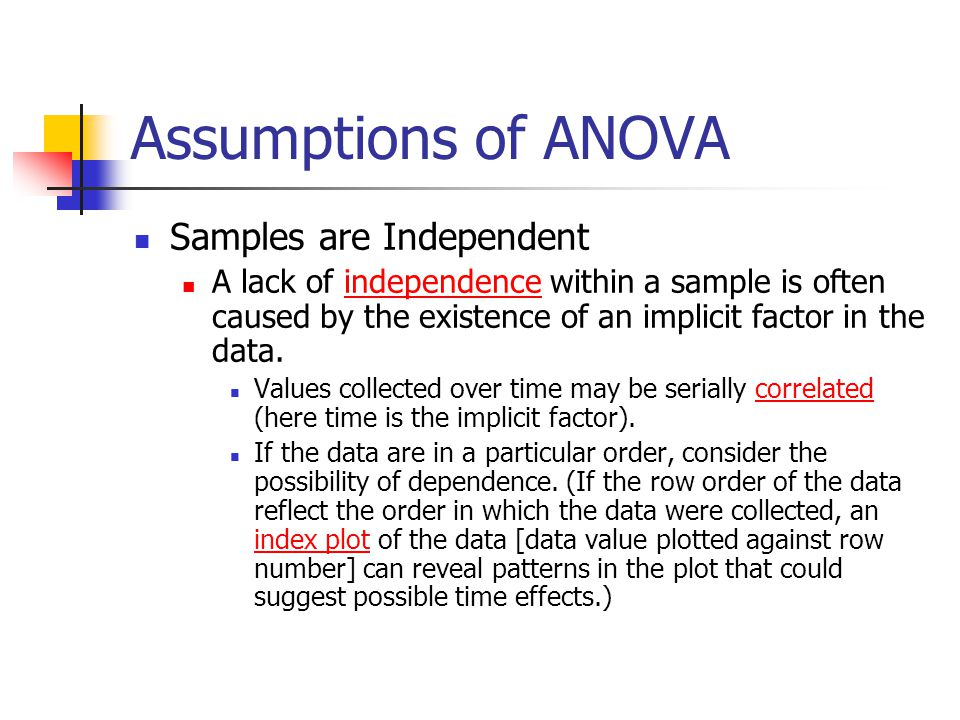 Assumptions of ANOVA Samples are Independent A lack of independence within a sample is often caused by the existence of an implicit factor in the data