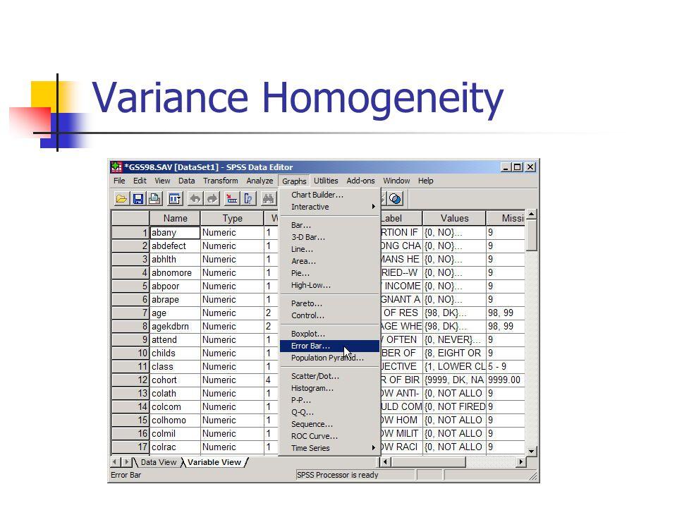 Variance Homogeneity