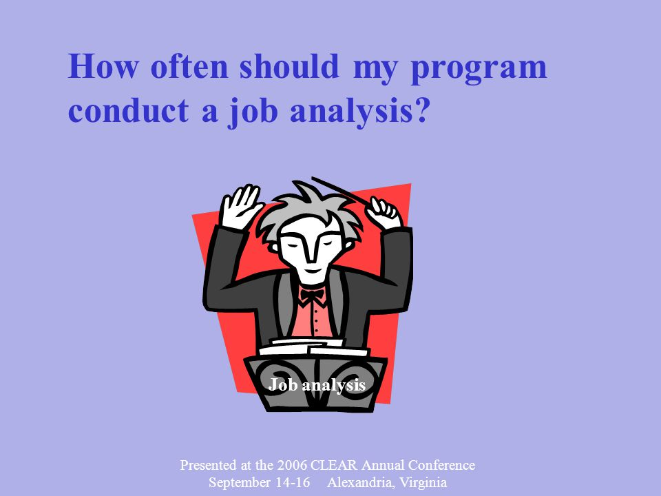 Presented at the 2006 CLEAR Annual Conference September 14-16 Alexandria, Virginia Test Blueprint Job Analysis Reliability Scoring Validity Passing Score Item Writing Standard Administration Item Analysis Item Review