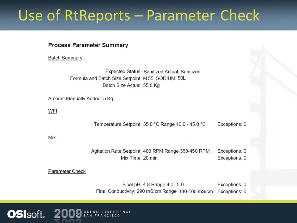 Use of RtReports – Parameter Check