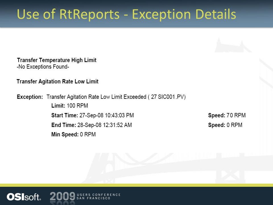 Use of RtReports - Exception Details