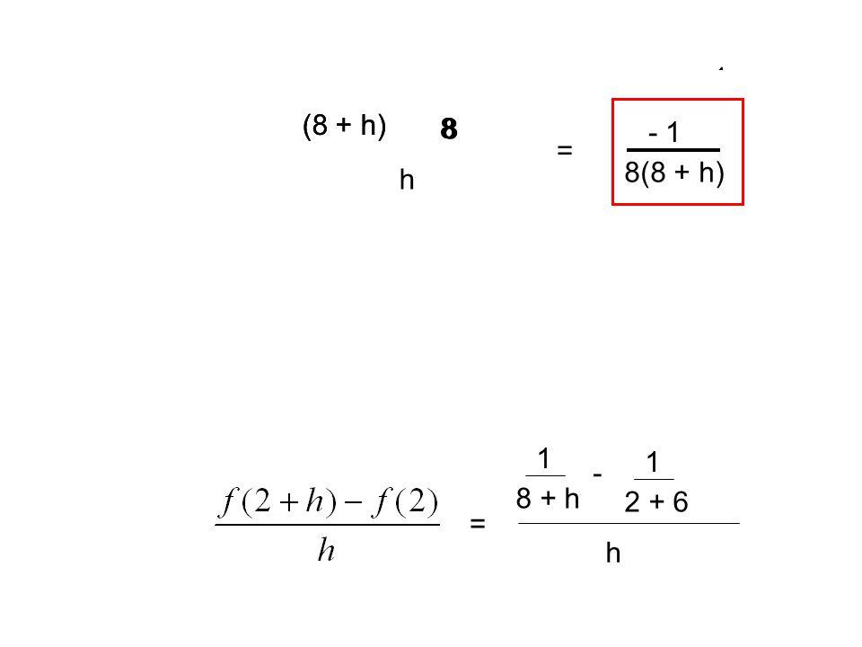 1 8 + h - 1 2 + 6 h = = (8 + h) 8 8 8 - h - h - 1 1 8(8 + h)